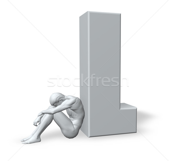 sitting man leans on uppercase letter l Stock photo © drizzd