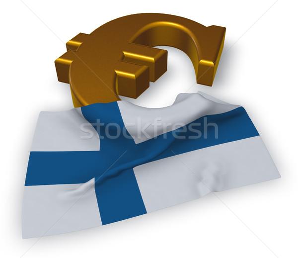 Euro símbolo bandeira Finlândia ilustração 3d assinar Foto stock © drizzd