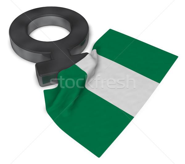 Feminino símbolo bandeira Nigéria 3D Foto stock © drizzd