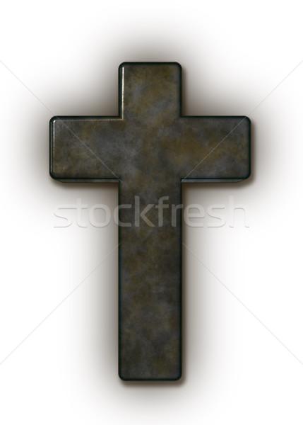 Hristiyan çapraz beyaz 3d illustration Metal dua Stok fotoğraf © drizzd