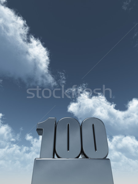 Een honderd metaal 100 bewolkt blauwe hemel Stockfoto © drizzd