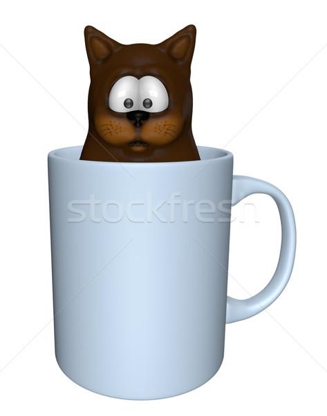 Tea macska vicces rajz bögre 3d illusztráció Stock fotó © drizzd