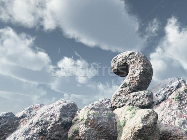 числа два рок облачный Blue Sky 3d иллюстрации Сток-фото © drizzd