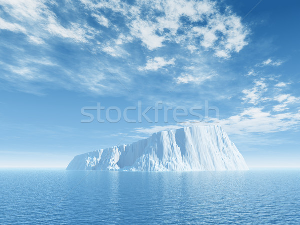 Glace iceberg bleu nuageux ciel 3d illustration Photo stock © drizzd