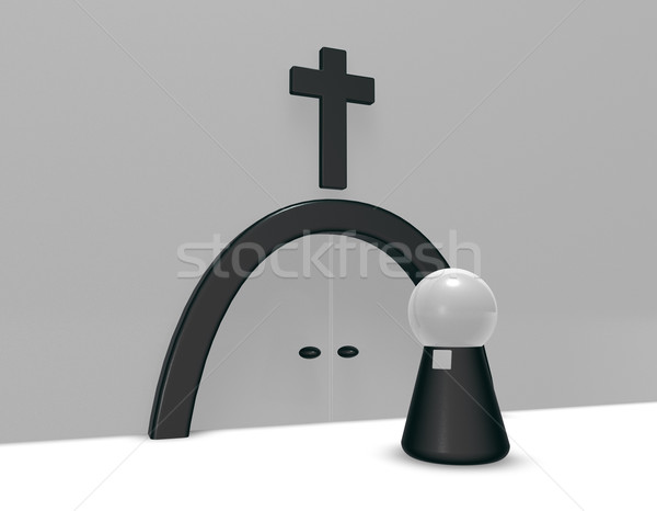 pastor and christian cross - 3d rendering Stock photo © drizzd
