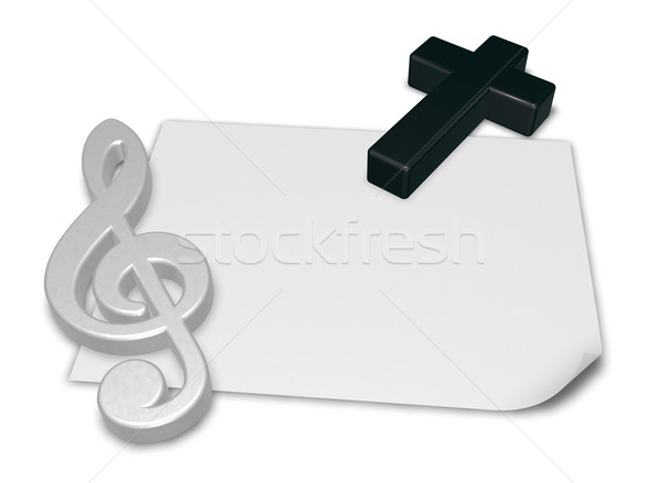 clef and cross on blank white paper sheet - 3d rendering Stock photo © drizzd