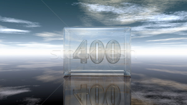 number four hundred in glass cube under cloudy sky - 3d rendering Stock photo © drizzd