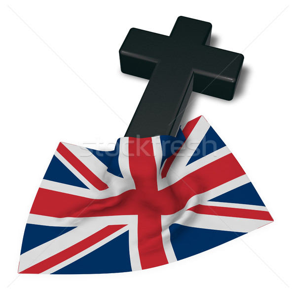christian cross and flag of the United Kingdom of Great Britain and Northern Ireland - 3d rendering Stock photo © drizzd