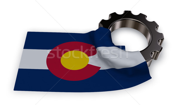 gear wheel and flag of colorado - 3d rendering Stock photo © drizzd