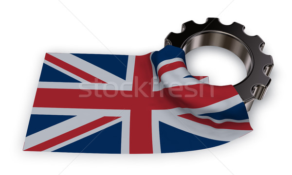 gear wheel and flag of the united Kingdom of Great Britain and Northern Ireland - 3d rendering Stock photo © drizzd