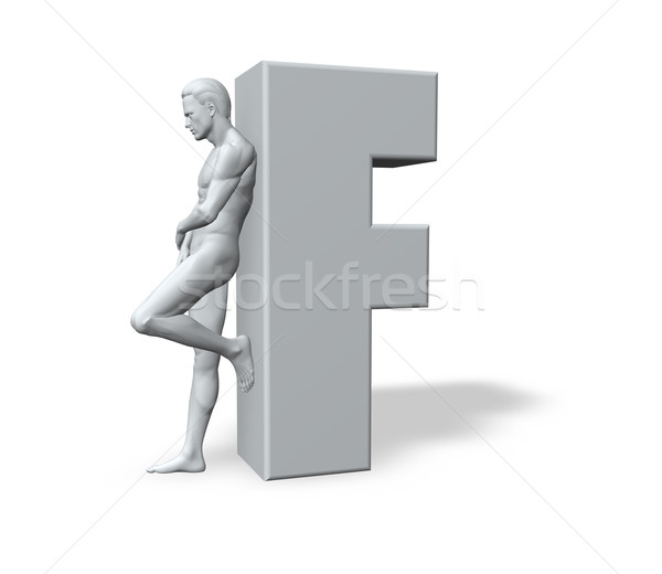 man leans on letter f Stock photo © drizzd