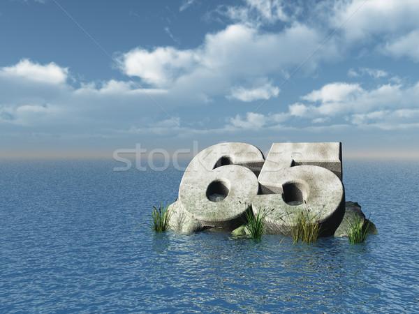Zestig vijf aantal oceaan 3d illustration landschap Stockfoto © drizzd