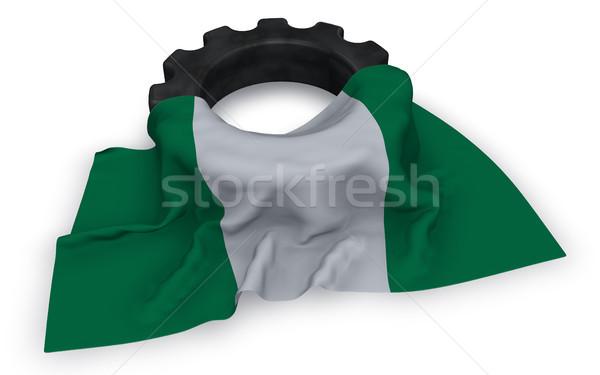 Engrenagem roda bandeira Nigéria 3D Foto stock © drizzd