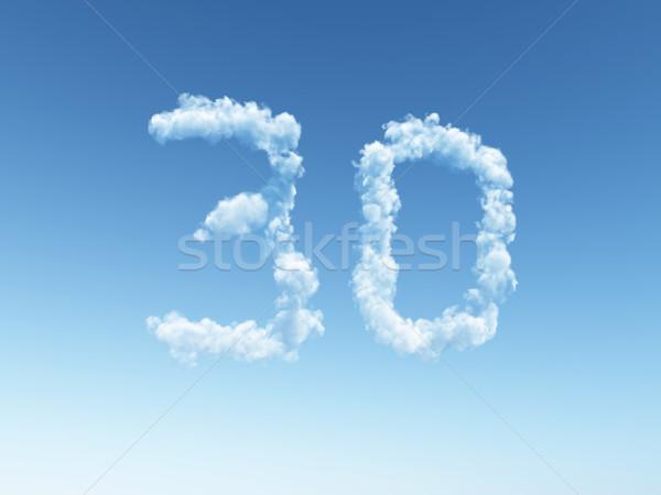 Сток-фото: облачный · тридцать · облака · форма · числа · 3d · иллюстрации
