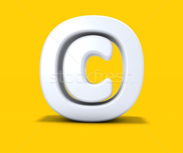 Droit d'auteur symbole jaune 3D sécurité Photo stock © drizzd