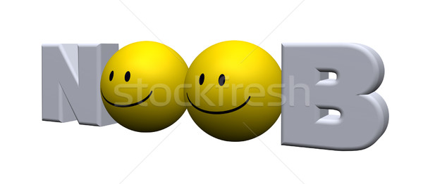 Palavra dois smileys ilustração 3d carta novo Foto stock © drizzd