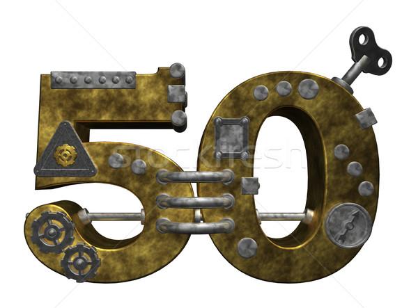 Nombre cinquante steampunk blanche 3d illustration Finance Photo stock © drizzd