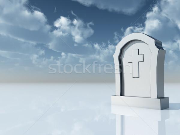 Mezar mezar taşı Hristiyan çapraz bulutlu mavi gökyüzü Stok fotoğraf © drizzd