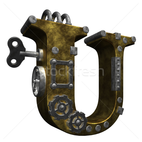 Steampunk mektup beyaz 3d illustration teknoloji Metal Stok fotoğraf © drizzd