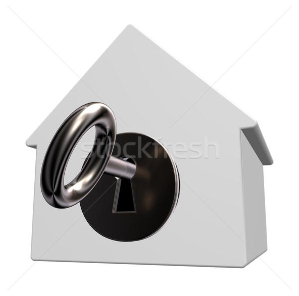 Sleutelgat huis model sleutel 3d illustration home Stockfoto © drizzd