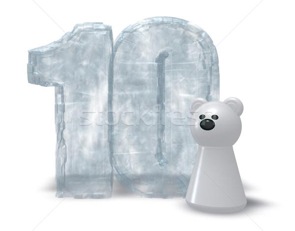 Congelato dieci orso polare numero illustrazione 3d compleanno Foto d'archivio © drizzd