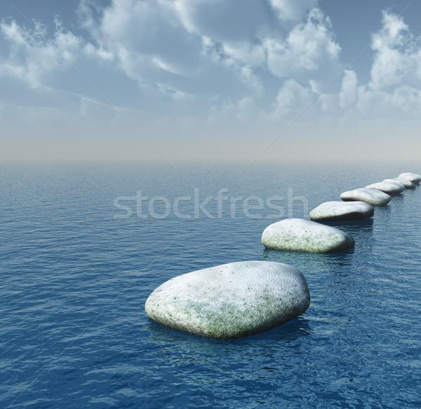Ponte pedras água ilustração 3d nuvens Foto stock © drizzd