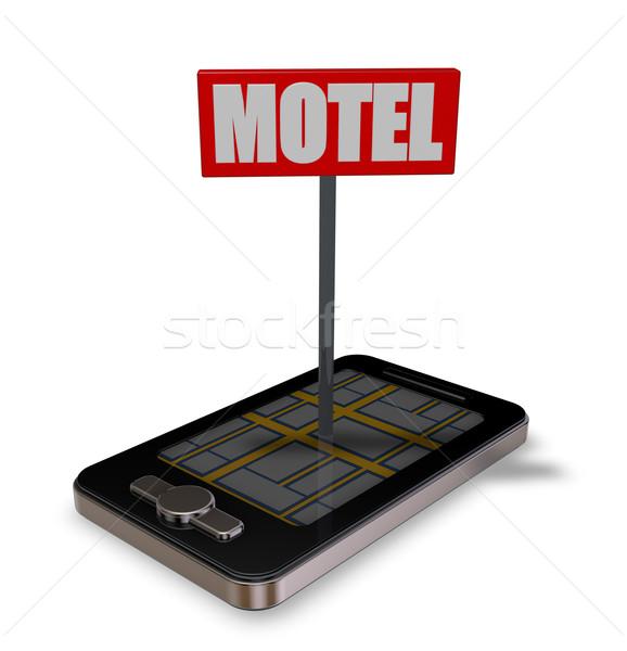 мотель смартфон знак 3d иллюстрации дороги карта Сток-фото © drizzd