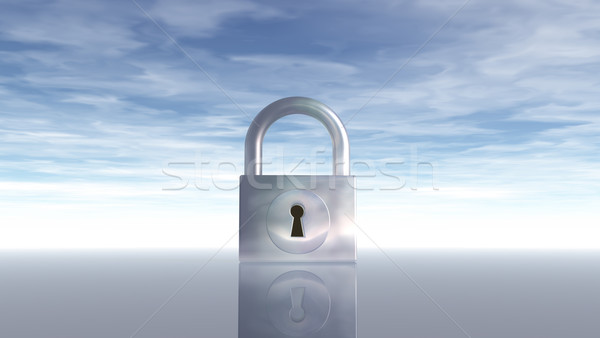 Cadenas ciel bleu 3d illustration ciel nuages lock Photo stock © drizzd