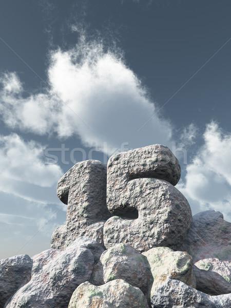 Szám tizenöt kő felhős kék ég 3d illusztráció Stock fotó © drizzd