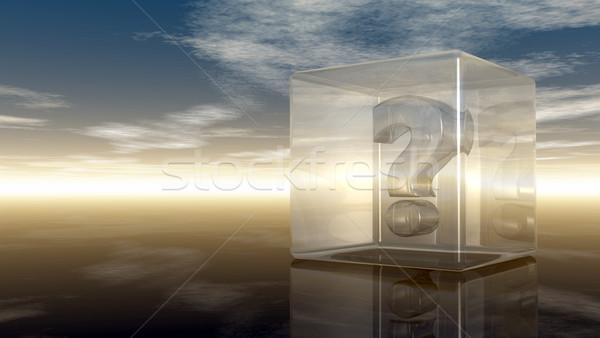 Kérdőjel üveg kocka felhős égbolt 3D Stock fotó © drizzd