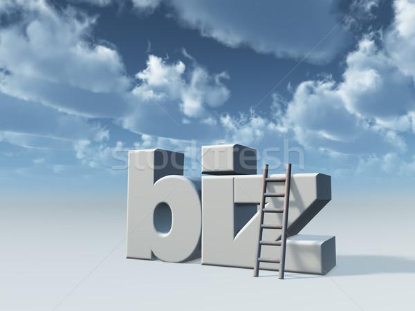 Domínio escada nublado céu ilustração 3d teia Foto stock © drizzd