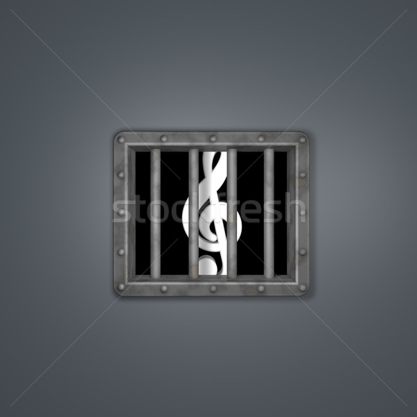 clef behind prison window - 3d illustration Stock photo © drizzd