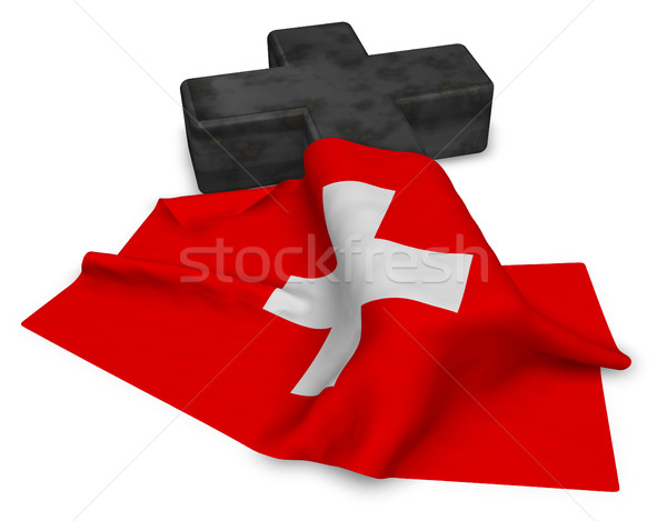 christian cross and flag of switzerland - 3d rendering Stock photo © drizzd