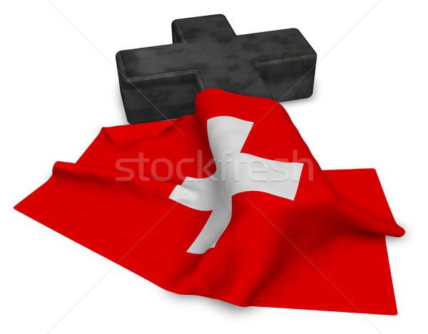 христианской крест флаг 3D Церкви Сток-фото © drizzd