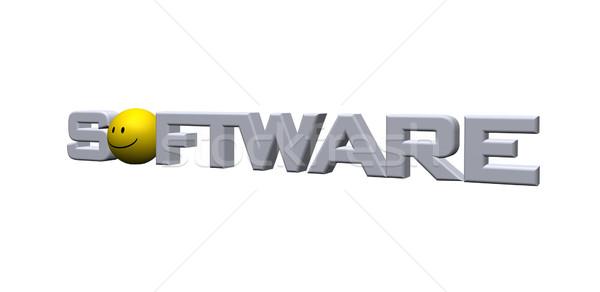 Software palavra emoticon ilustração 3d tecnologia assinar Foto stock © drizzd