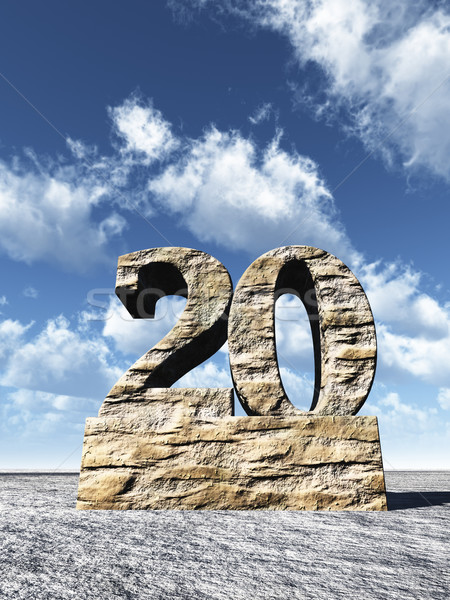 Número vinte pedra nublado blue sky ilustração 3d Foto stock © drizzd