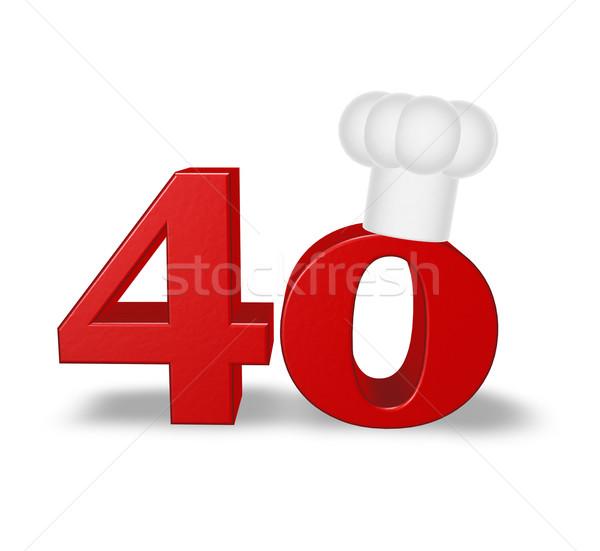 Szám negyven szakács kalap fehér 3d illusztráció Stock fotó © drizzd