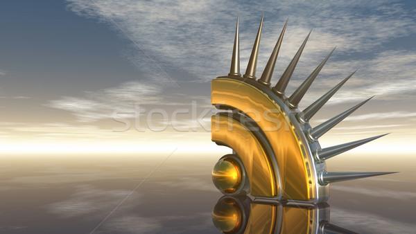 Rss symbol mętny Błękitne niebo 3d ilustracji komputera Zdjęcia stock © drizzd