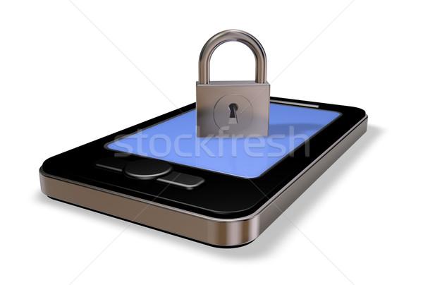 смартфон замок белый 3d иллюстрации телефон технологий Сток-фото © drizzd