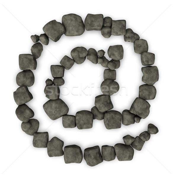 Foto d'archivio: Ciottoli · e-mail · simbolo · pietra · bianco · illustrazione · 3d