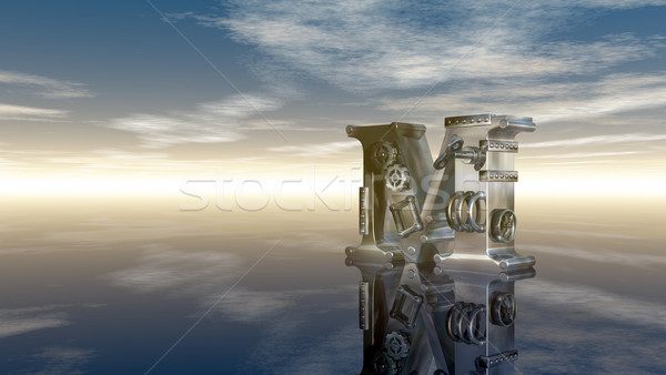 machine letter m under cloudy sky - 3d illustration Stock photo © drizzd