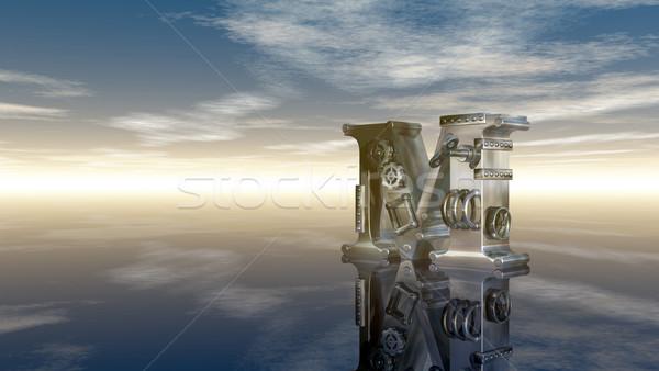 Makine mektup m bulutlu gökyüzü 3d illustration bulutlar Stok fotoğraf © drizzd