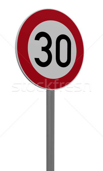Stok fotoğraf: Otuz · hız · limiti · beyaz · 3d · illustration · imzalamak