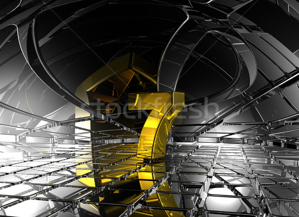 number seven in abstract futuristic space - 3d rendering Stock photo © drizzd