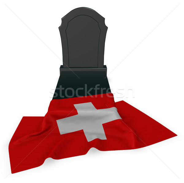 gravestone and flag of switzerland - 3d rendering Stock photo © drizzd