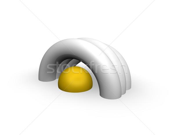 Streszczenie instalacja biały 3d ilustracji piłka dachu Zdjęcia stock © drizzd