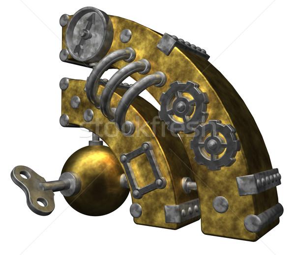 Rss steampunk simbolo bianco illustrazione 3d computer Foto d'archivio © drizzd
