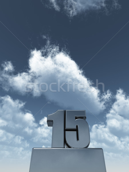 Fém tizenöt 15 felhős kék ég 3d illusztráció Stock fotó © drizzd