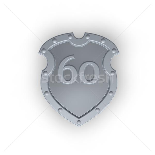 Aantal zestig metaal schild witte 3d illustration Stockfoto © drizzd