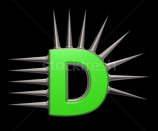 D betű fém fekete 3d illusztráció iskola művészet Stock fotó © drizzd